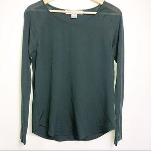 French Connection Dark Green Sheer Sleeve Top XS